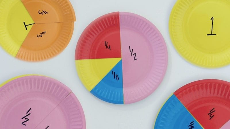 Colorful paper plates cut into pieces and reassembled to represent fractions