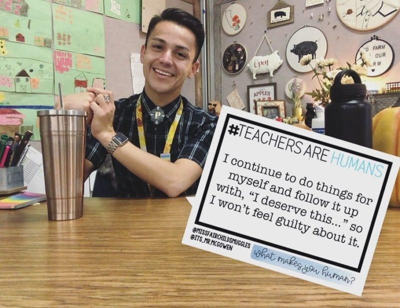 Still from #TeachersAreHuman saying that the teacher deserves things so as not to feel guilty.