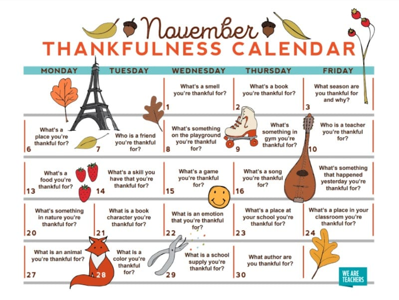 Calendar Ideas For November : Free nov thanksgiving thankfulness calendar for