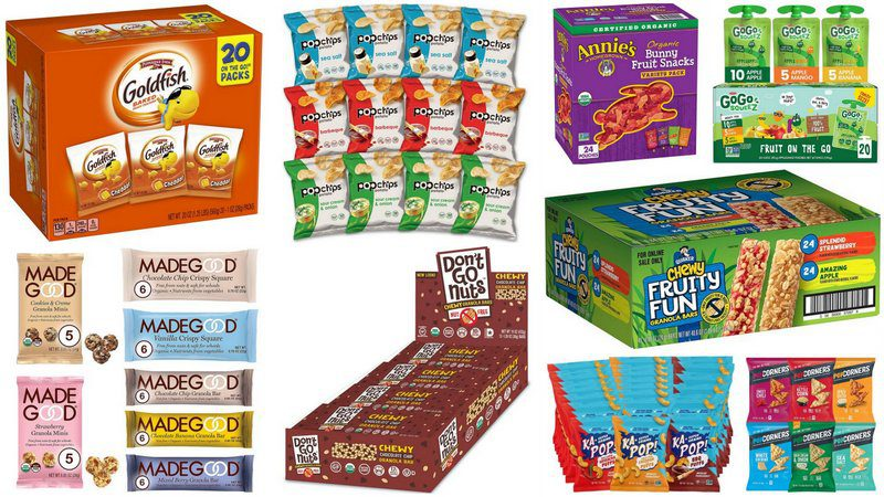 Collage of Nut-Free Snacks for Classrooms