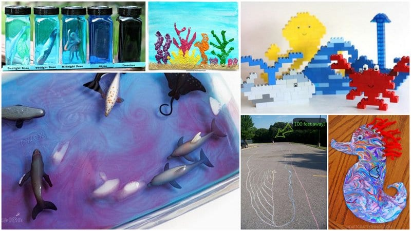 6 Images of Ocean Activities with Legos, Painting, and Chalk.