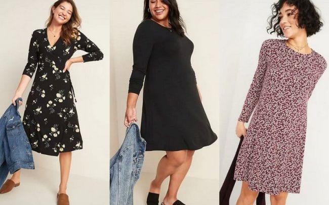 Women wearing various styles of jersey knit dresses - Old Navy Teacher Favorites
