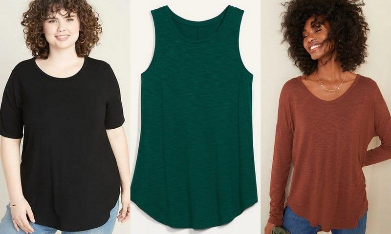 Short sleeve black tee, green tank top, and brown long-sleeve tee - Old Navy Teacher Favorites