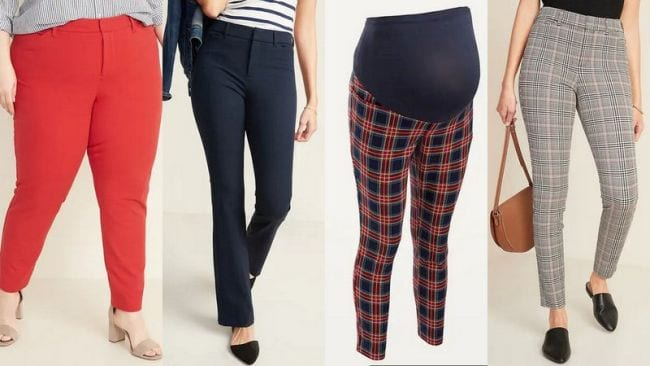 Selection of slim-legged pants in solids and patterns
