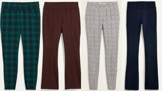 Slim-fit and bootcut knit pants in several colors and patterns