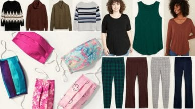 Collage of sweaters, leggings, face masks, and tees - Old Navy Teacher Favorites