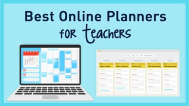 Best online planners for teachers with two examples on a light blue background.