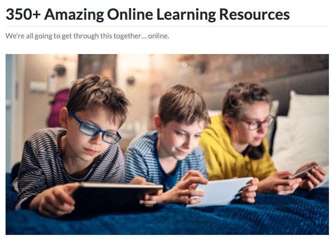 350 Online Resources header image.