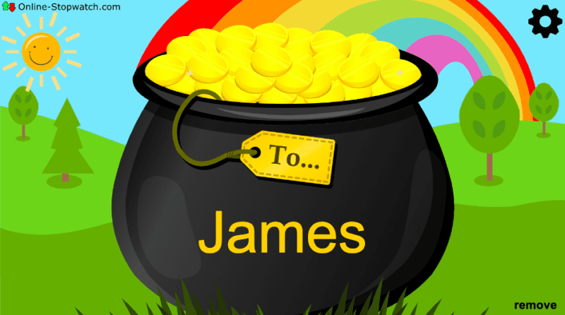 pot of gold with a name on it in front of rainbow