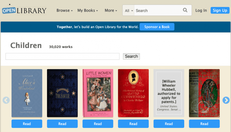 Still of collection of books offered on OpenLibrary website