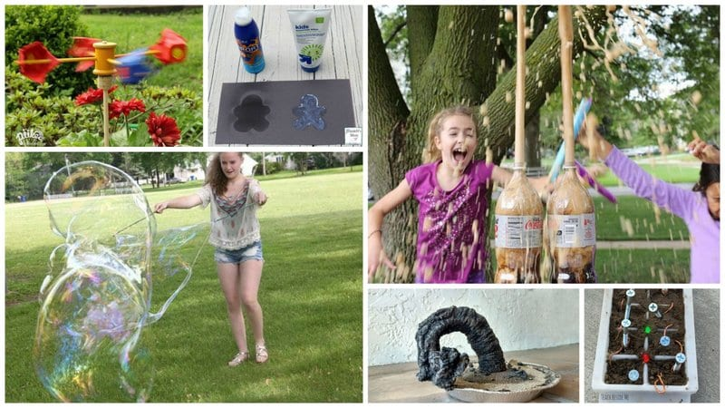 Collage of outdoor science experiments for kids