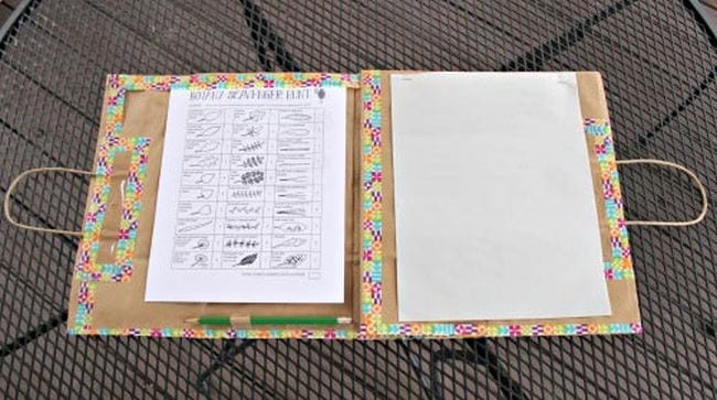 Nature journal made from a paper bag with checklist, blank pages, and pencil (Outdoor Science)