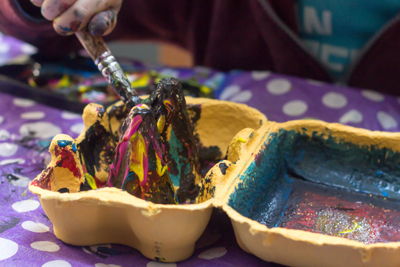 Egg Carton With Paint Inside - Earth Day Activities