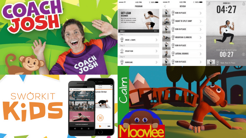 Collage of PE apps and online resources