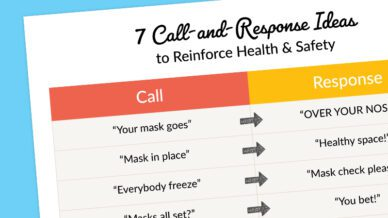 The 7 call-and-response idea card on a blue background.