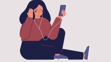 A cartoon sketch of a woman holding her phone with white earbuds listening to music.