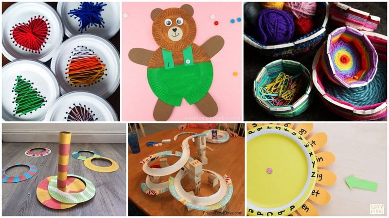 Six images of different paper plate activities.