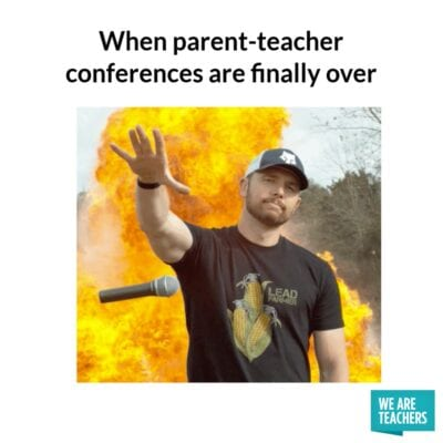 Mic drop when parent-teacher conferences are finally over
