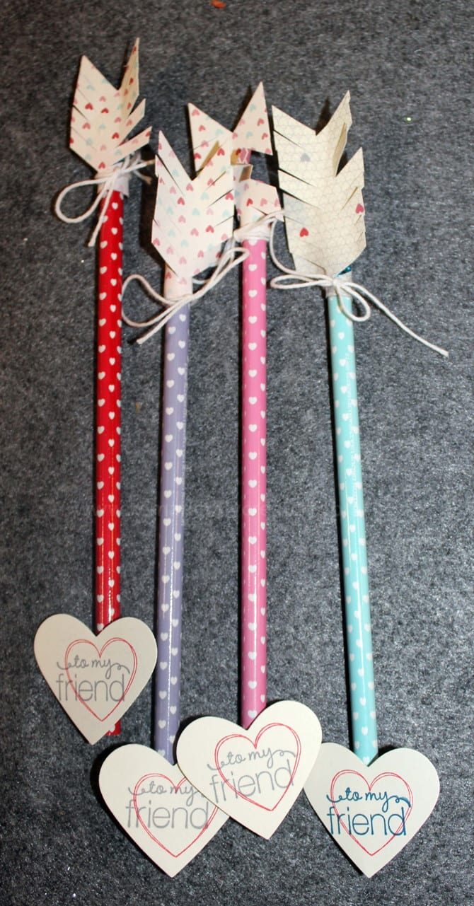 """Four pencils with polkadots that look like arrows with heart-shaped cards that say, """"to my friend"""""""