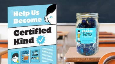 "Certified Kind flyer and a glass mason jar full of blue marbles with a blue label that reads, ""Choose Kind."""