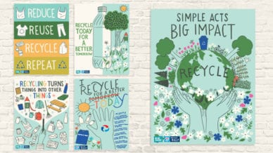 Five Recycling Posters about taking care of our planet.