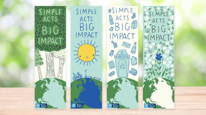 Recycle Rally Bookmarks - four spread out in green and blue pastels.