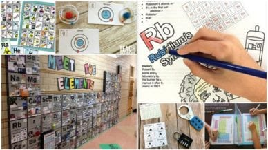 Six images of different periodic table activities for chemistry students.