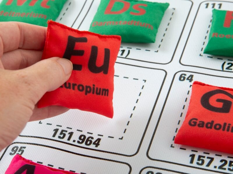 a fun periodic table game using beanbags and a landing chart