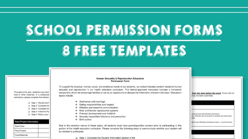 Free Field Trip And School Permission Forms Templates Weareteachers