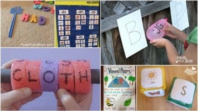 Phonics activities for early readers that contain balloons, pool noodles, and paper.