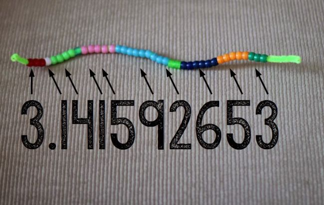 Colored beads strung on a pipe cleaner in color groups coordinated with the digits of pi