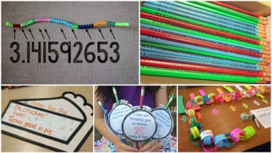 A collage of five different activities for Pi Day in the classroom.
