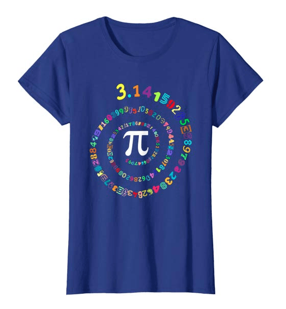 Navy blue t-shirt with the digits of pi printed in multicolor and arranged in a spiral around the pi symbol