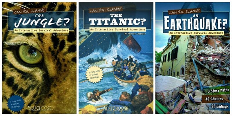 three book covers from the Can You Survive series of books for kids