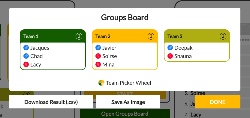 three color coded cards with names listed on them