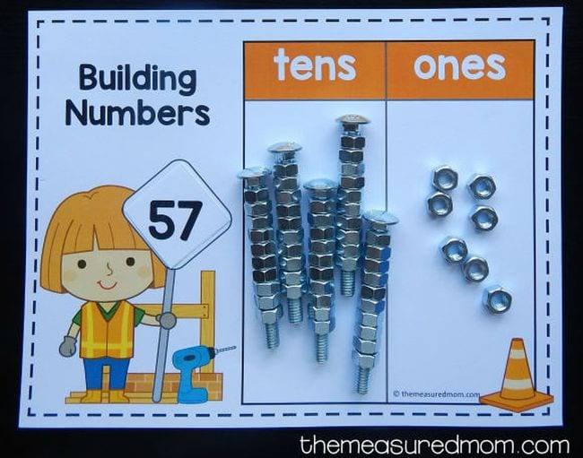 Worksheet called Building Numbers with spaces for tens and ones, with nuts and bolts representing the number 57