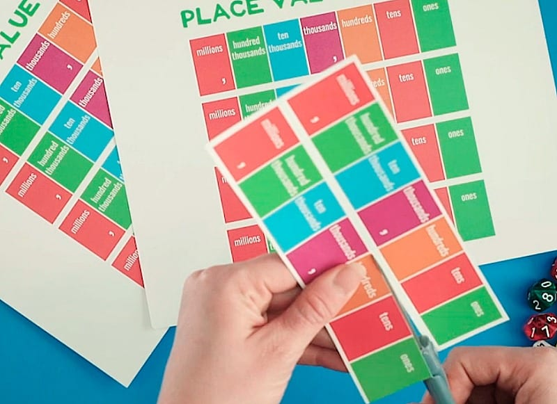 Photo of Free Place Value Game - Cutting