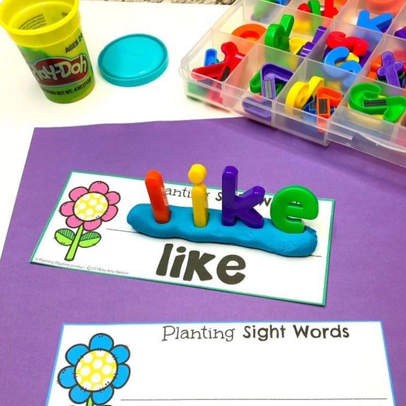 Plant words in play dough