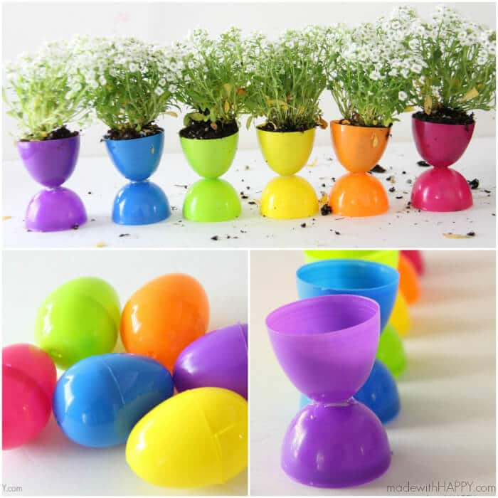 A mini garden using plastic Easter eggs