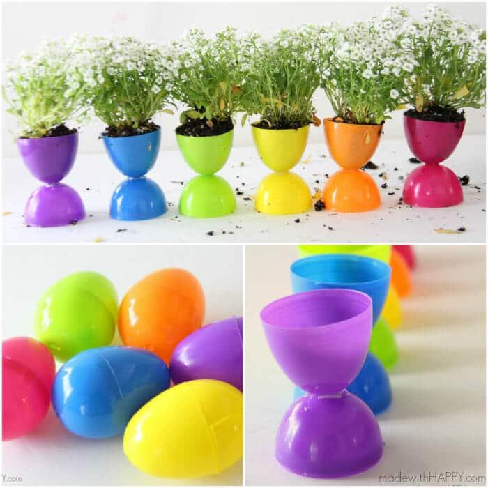 A mini garden using plastic Easter eggs