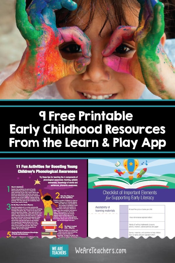 9 Free Printable Early Childhood Resources From the Learn & Play App