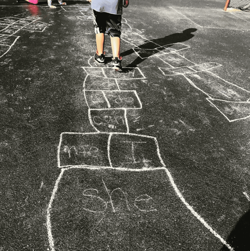 Play sight word hopscotch outdors