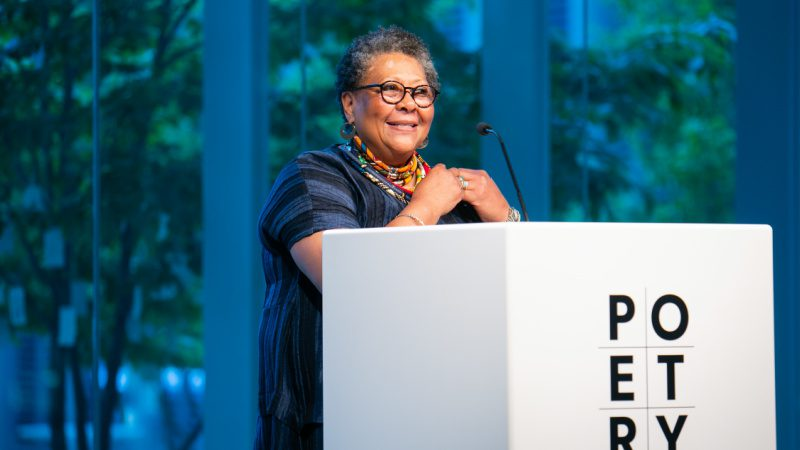 Photograph of Marilyn Nelson accepting an award at The Poetry Foundation
