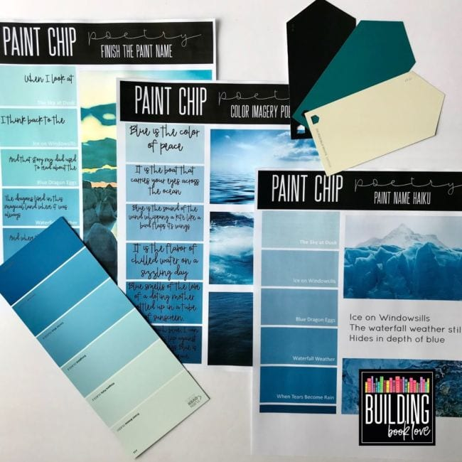 Printed paint chip poetry worksheets in shades of blue
