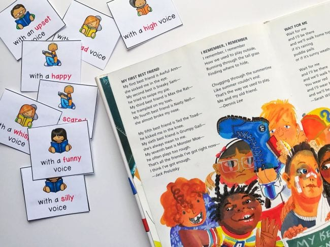 """Poetry book with cards suggesting different voices like """"with a funny voice"""" and """"with a happy voice"""" (Poetry Games and Activities)"""