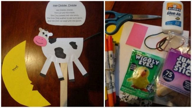 Paper cow and banana with craft supplies and the poem Hey Diddle Diddle