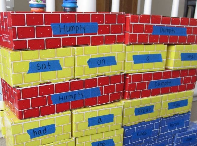 Cardboard bricks labeled with the words of Humpty Dumpty (Poetry Games and Activities)