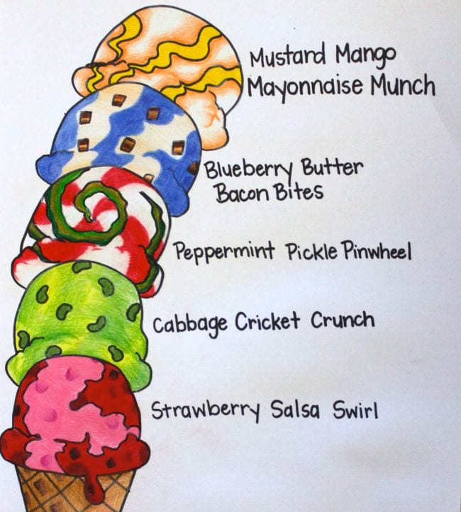 Colorful illustration of an ice cream cone with six scoops with creative flavor names like Cabbage Cricket Crunch