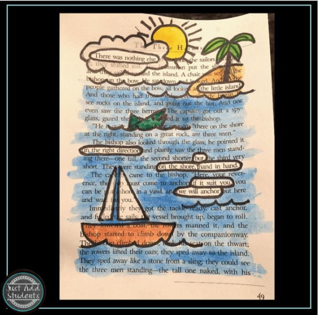 Page from a book with words and phrases circled, illustrated with an ocean scene (Poetry Games and Activities)