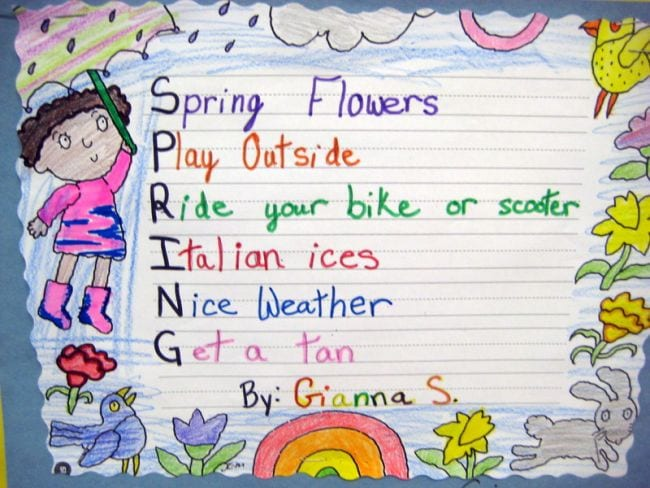 Acrostic poem for the word Spring with illustrations around the edge (Poetry Games and Activities)